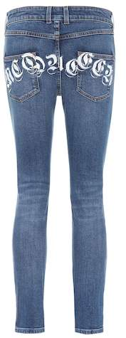 Alexander McQueen Printed mid-rise skinny jeans