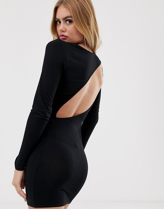 Asos Design DESIGN going out long sleeve backless bodycon mini dress-Black
