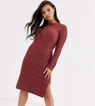Vero Moda Petite knitted midi dress with side split in brown