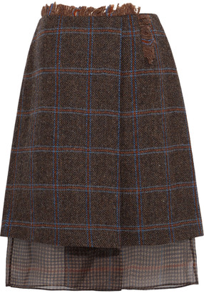 Acne Studios Pait Layered Checked Wool And Houndstooth Chiffon Skirt