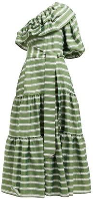 Lisa Marie Fernandez Arden One-shoulder Striped Satin Maxi Dress - Womens - Green White