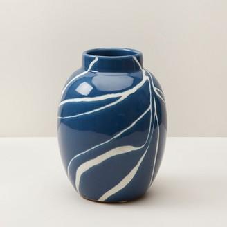 Oui Hand-Painted Leaves Vase Medium