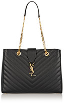 Saint Laurent Monogramme Large Quilted Textured-leather Tote - Black