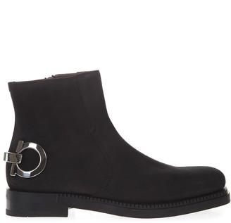 Salvatore Ferragamo Black Suede Boots With Iconic Metal Gancio