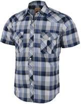 Coevals Club Men's Casual Plaid Snap Front Short Sleeve Shirt (Gray / blue , XL)