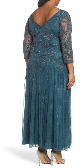 Pisarro Nights Plus Size Women's Embellished Double V-Neck Long Dress