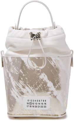 Maison Margiela Paneled Smooth And Metallic Leather Bucket Bag