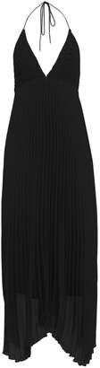 Alice + Olivia Lariette Crochet-paneled Pleated Georgette Halterneck Maxi Dress