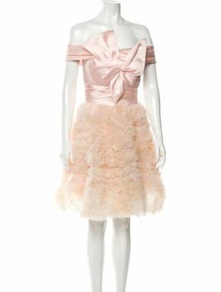 Marchesa Notte Off-The-Shoulder Knee-Length Dress Pink