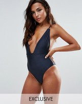 Wolfwhistle Wolf & Whistle B-F Cup Navy Shimmer Plunge Swimsuit