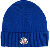 Moncler Men's Stockinette-Stitched Virgin Wool Beanie-BLUE