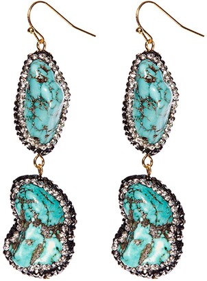 Eye Candy Los Angeles Stormy Sea Nugget Turquoise & Pave Hematite Two Tier Drop Earrings
