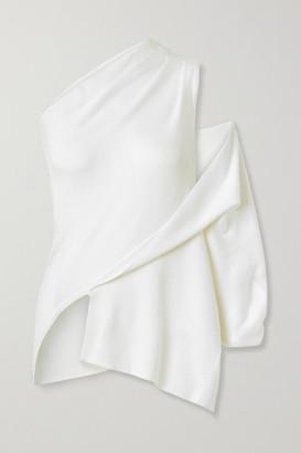 Monse Asymmetric One-shoulder Merino Wool Top - Cream