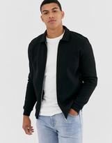 Asos Design DESIGN jersey harrington jacket in black