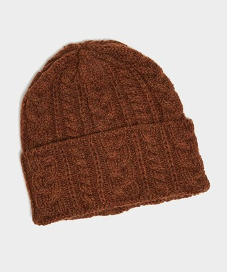 Drakes Drake's Cable Wool Hat in Rust