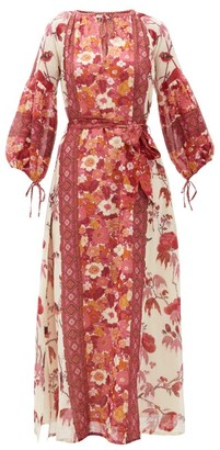 D'Ascoli Vista Belted Floral-print Cotton Dress - Red Print