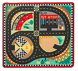 Melissa & Doug Race Car Rug Set - Ages 3+