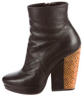 Dries Van Noten Python-Trimmed Ankle Boots