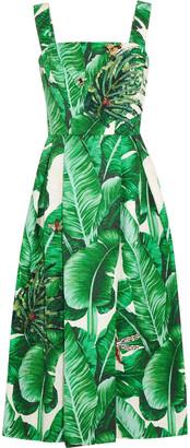 Dolce & Gabbana Appliqued Printed Cotton And Silk-blend Jacquard Midi Dress