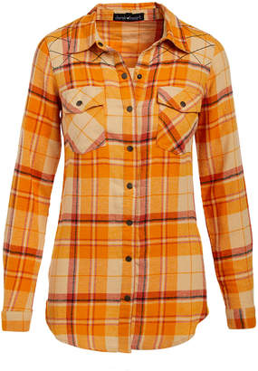 BEIGE Derek Heart Women's Button Down Shirts  Latte Plaid Flannel Button-Up - Juniors
