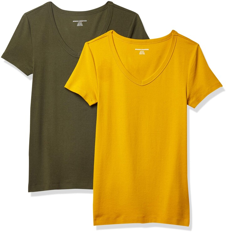 Thumbnail for your product : Amazon Essentials Women's 2-Pack Slim-Fit Short-Sleeve V-Neck T-Shirt
