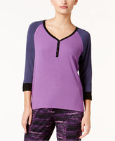DKNY Resort Colorblocked Lounge Henley Top