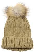La Fiorentina Women's Knit Beanie with Fur Pom
