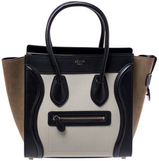 Celine Tri Color Leather and Nubuck Micro Luggage Tote