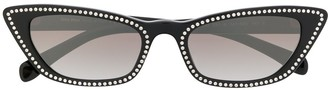 Miu Miu Crystal Detailed Cat Eye Sunglasses