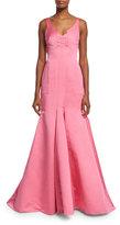 J. Mendel Sleeveless V-Neck Mermaid Gown, Pink