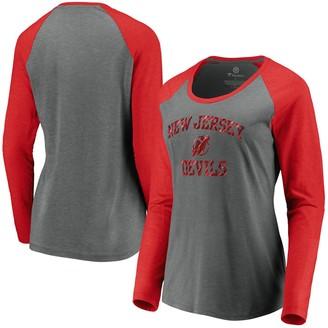 Women's Fanatics Branded Heathered Gray New Jersey Devils Favorite Raglan Tri-Blend Long Sleeve Scoop Neck T-Shirt