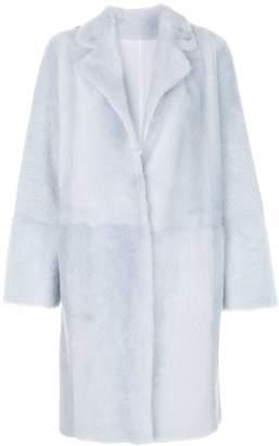 Yves Salomon faux fur overcoat blue