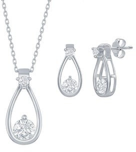 La Preciosa 925 Sterling Silver/18kGold Plated Cubic Zirconia Pear-Shape Bridal Engagement 18'' Necklace and Earrings Set