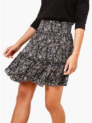 Oasis Paisley Tiered Mini Skirt, Multi