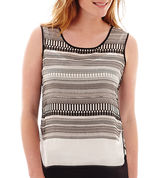 Liz Claiborne Piped Print Tank Top