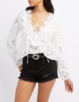 Charlotte Russe Eyelet Crochet-Trim Lace-Up Blouse