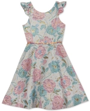 Rare Editions Big Girls Floral-Print Brocade Dress