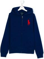 Ralph Lauren embroidered logo hoodie - kids - Cotton - 13 yrs