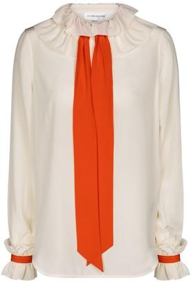 Victoria Beckham Ruffled silk twill blouse