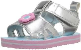 Gerber Girls' Silver Flower eva Sandal-K 2 M US Infant
