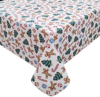 St. Nicholas Square Gingerbread Toss Vinyl Tablecloth