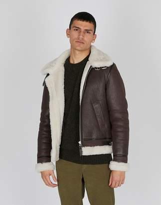 The Idle Man - Shearling Flight Jacket Brown