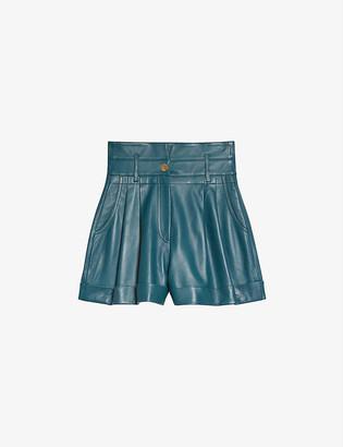 Sandro Jude high-rise leather shorts