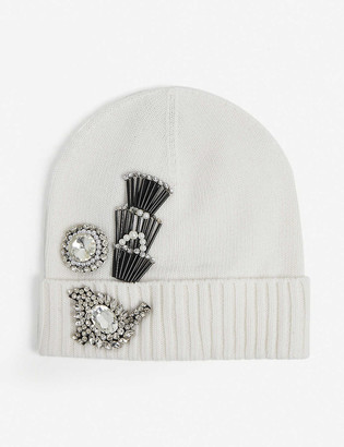 Pinko Jewel-applique knitted beanie hat
