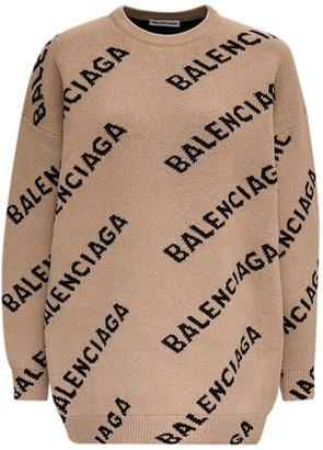 Balenciaga Allover Logo Intarsia Sweater