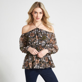 Apricot Multi-Coloured Illustrated Floral Print Cold Shoulder Top