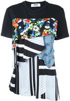 MSGM patchwork T-shirt - women - Cotton/Polyurethane/Spandex/Elastane - S