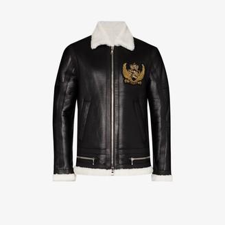 Balmain Shearling Trim Leather Biker Jacket