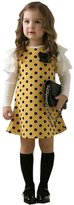 Mactery Girls Casual Bowknot Spring Dots Ruffle Long Sleeve Dress