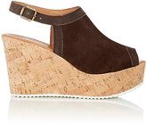Barneys New York WOMEN'S SUEDE PLATFORM WEDGE SANDALS